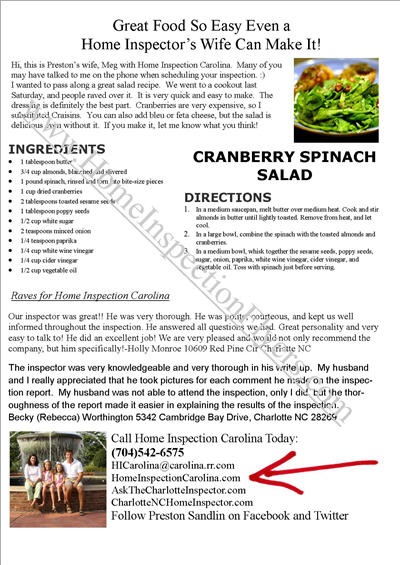 Cranberry Spinach Salad Flyer